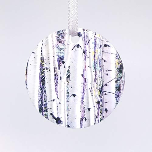 Tiukiu Birch Trees Aspens Ceramic Ornament Photography Handmade Unique Gift Holiday Ornament
