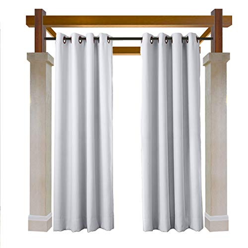 Macochico Waterproof Extra Wide Outdoor Curtains for Patio with Rustproof Grommets Drapes Panels for Pergola Cabana Beach Home Greyish White 150W x 96L (1 Panel)
