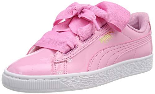 Puma Unisex-Kinder Basket Heart Patent Jr Sneaker, Rosa (PRISM PINK-Peacoat-Gold-Puma White), 36 EU