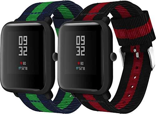 Chainfo Correa de Reloj de NATO Nailon Compatible con Galaxy Watch 42mm / Watch 3 41mm / Active, Mujer y Hombre, Hebilla de Acero Inoxidable (20mm, Azul y Verde + Vino)