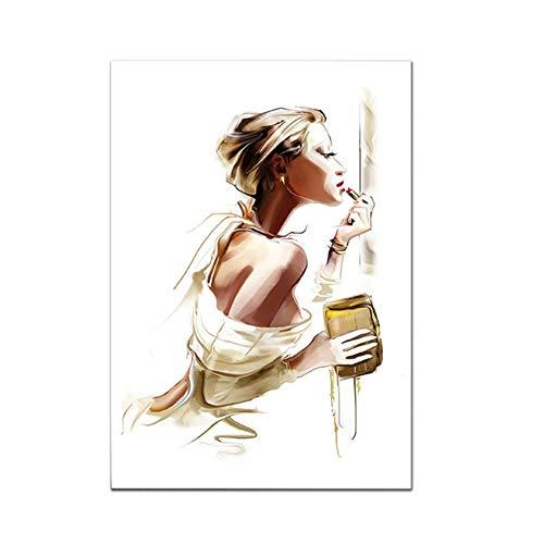 """YangMENGDAN int op canvas afdrukken meisjes make-up canvas schilderij Scandinavische kunst hooghakkige schoenen wandschilderijen voor de woonkamer Parijs parfum modern 27.5""""x 39.4"""