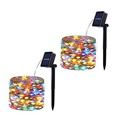 Baimo 2 Pack 100 LED 8 Modes Solar String Lights, 33ft Waterproof Silver Copper Wire Fairy Lights for Christmas, Garden, Patio, Party, Yard, Indoor Outdoor (Multicolor)