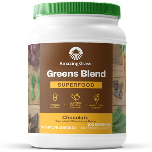 Amazing Grass Greens Blend Superfood: Super Greens Powder with Spirulina, Beet Root Powder, Chlorella, Digestive Enzymes & Probiotics, Chocolate, 100 Servings (Packaging May Vary)