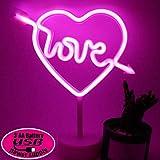 XIYUNTE Amore Luci al neon Luci notturne con piedistallo titolare, Rosa Cupido Insegne lum...