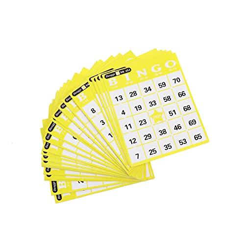 TOYANDONA Tarjetas de Bingo Reutilizables Tarjetas de Bingo Amarillas con Número Familia Padres Niño Juegos Interactivos Juguetes