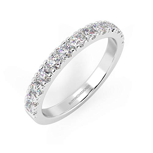 0.15 Carat Top Quality F/VS1 Micro Pave Round Diamond Half Eternity Ring in Platinum Size J