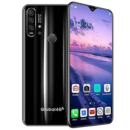 DREAMyun Smartphone 4G Dual SIM, 6.3' HD Screen Smartphone Barato, 6GB+ 128GB, Android 10, 4500mAh, Cámara Triple 21MP+8MP, Face ID,Negro
