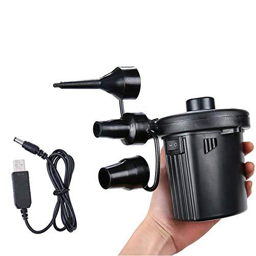 NAINAIWANG Bomba De Aire EléCtrica, Bombas De Llenado RáPido Recargables USB PortáTiles para Inflador/Desinflador, con / 3 Boquillas, para ColchóN De Aire, Balsa, Piscina Inflable, Barcos