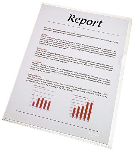 Esselte Leitz Copy-Safe 56218 - Paquete de 100 portafolios de plástico, A4, transparente
