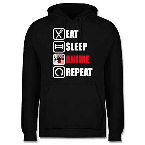 Shirtracer Anime - Eat Sleep Anime Repeat - weiß - XL - Schwarz - Geschenk - JH001 - Herren Hoodie und Kapuzenpullover für Männer