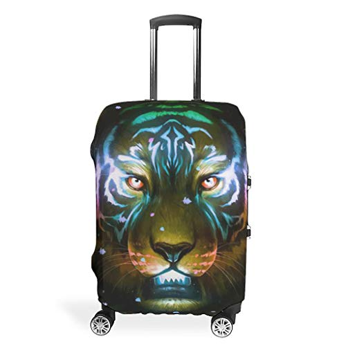 Tiger Lion Animal-Mirror Travel Luggage Protector Foldable Anti-Scratch Fits 18-32 Inch for Wheeled Suitcase Over Softsided White 26-28in