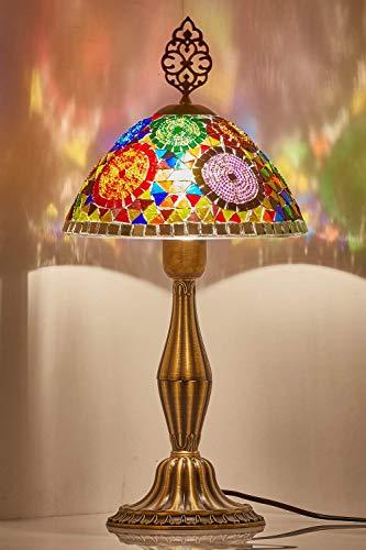 Demmex 2020 Mosaicos turcos marroquíes mesita de noche estilo Tiffany lámpara de acento para uso en Estados Unidos, multicolor