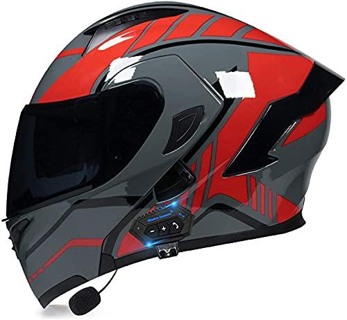 Egrus Casco Plegable de la Motocicleta integrada de la Motocicleta Casco Plegable de la Motocicleta con Anti-Niebla de Doble Cambio ECE Certificado L (Color : Z, Size : M)