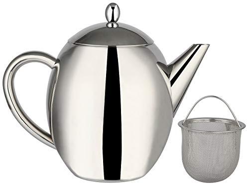 Rosenstein & Söhne Teekrug: Edelstahl-Teekanne mit Siebeinsatz, 1,75 Liter, spülmaschinenfest (Edelstahl Kanne)