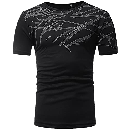 Camiseta de los hombres Casual Slim cuello redondo manga corta