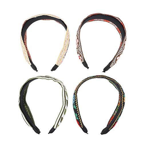Lurrose 4 diademas de turbante ancha bordadas estilo bohemio para el cabello, diademas de lavado facial, tocado de yoga, accesorios para el cabello para mujeres y niñas