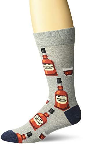 Hot Sox Men's Food and Booze Novelty Fashion Casual Socks, Bourbon (Grey Heather), Shoe Size: 6-12