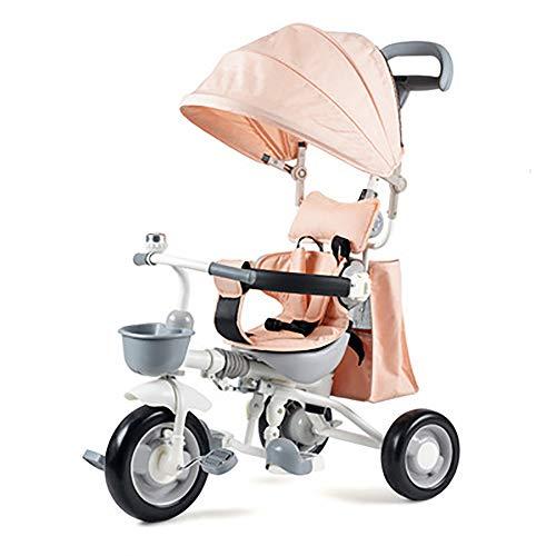 SSRS 3-wieler voor kinderen, 4-in-1 driewieler + 18 maanden driewieler met pedalen, afneembare afdekking, telescoopstang, draaistoel geschikt voor ouders, stuwkracht 30 kg