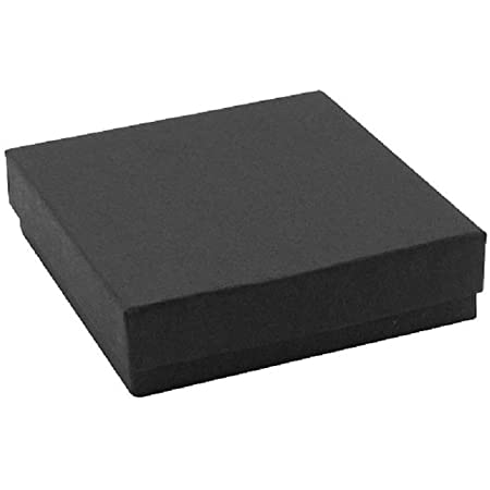 16 Pack Cotton Filled Matte Black Color Jewelry Gift and Retail Boxes 3.5 X 3.5 X 1 Inch Size by R J Displays