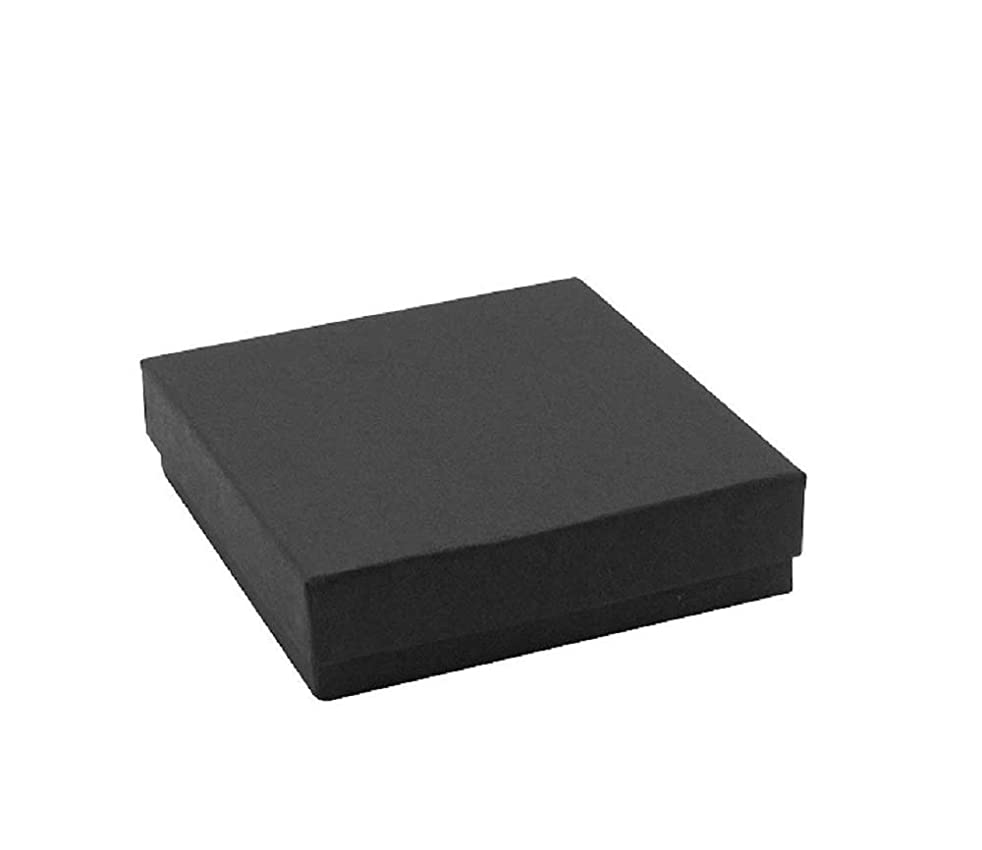12 Pack Cotton filled Black Matte Paper Cardboard Jewelry Gift and Retail Boxes 3 X 3 X 1 Inch Size by R J Displays