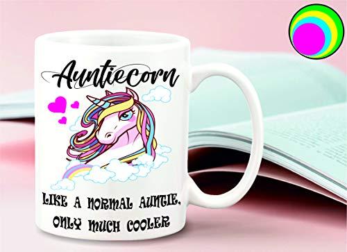 sticker licker Grappige Eenhoorn Auntiecorn tante motief met als een normale tante, alleen veel koeler Slogan 10oz koffie thee mok moeders dag verjaardag cadeau leuk slechte invloed mok