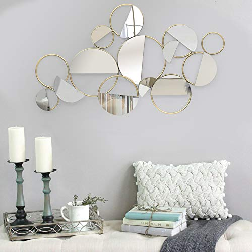 Asense Home Collection Mirror, Classic Metal Decorative Wall Mirror (Semicircle Multi-Colored)