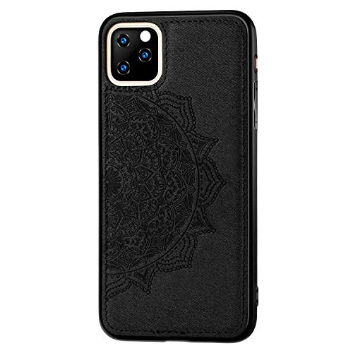 Flower Case Compatible with Apple iPhone 11 6.1 inch Display Case,Fit Magnetic Car Mount,3D Cloth Embossed with Floral Flowers Pattern Design Slim Shockof Cover Skin-Black