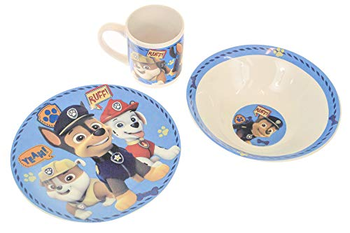 Disney Kids Ceramic Breakfast Dinnerware Plate Bowl Mug Set (Paw Patrol)