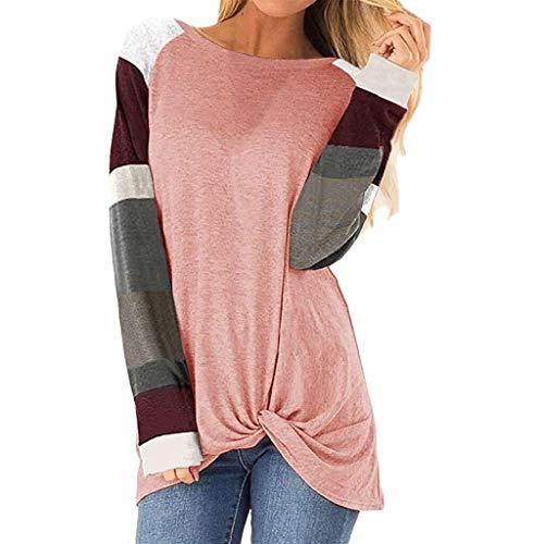 Vrouwen Ladies Cotton Zomer Lente Herfst korte mouw Triple Stripe T-shirt Casual Blouse (Color : Pink, Size : XXL)
