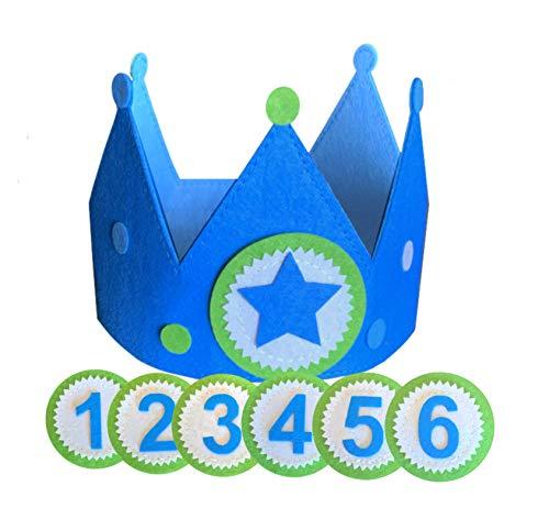 Corona cumpleaños y fiesta niño con números intercambiables en tela fieltro. Ajustable para bebés y niños | incluye números para 1 año, 2, 3, 4, 5 y 6 años más estrella para disfraz o juego