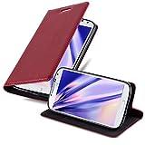 Cadorabo Hülle für Samsung Galaxy S4 Mini - Hülle in Apfel ROT – Handyhülle mit Magnetverschluss, Standfunktion & Kartenfach - Hülle Cover Schutzhülle Etui Tasche Book Klapp Style