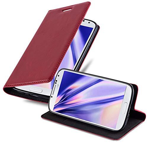 Cadorabo Hülle für Samsung Galaxy S4 Mini - Hülle in Apfel ROT – Handyhülle mit Magnetverschluss, Standfunktion und Kartenfach - Case Cover Schutzhülle Etui Tasche Book Klapp Style