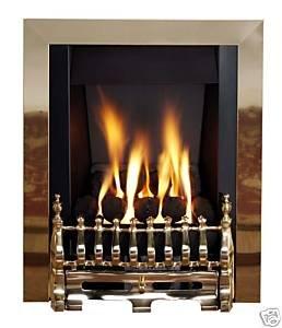 Living Flame Gas Fire Brass 'Blenhiem' Slimline)