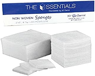 Essentials 3D Dental Non-Woven 2x2 Gauze, 4 Ply, Non Sterile and Non Linting, Pack of 400