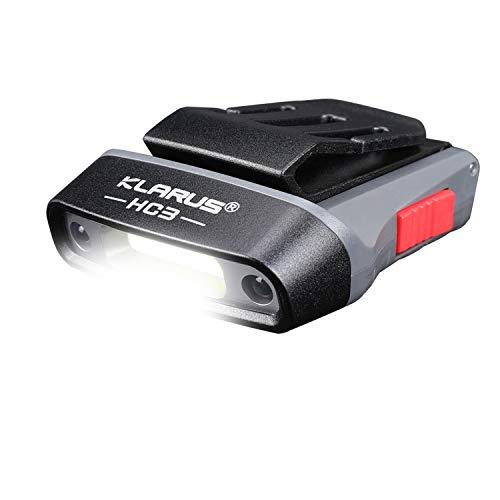 Klarus HC3 Rechargeable Motion Sensor Cap Visor Light - 100 Lumens COB LED Clip on Hat Light - Headlamp with Red Light for Fishing Running Camping Reading