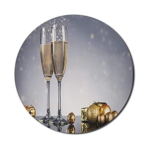 Champagner-Mauspad für Computer, teures Feier-Thema Stillleben Glückwunsch-Jubel-Thema, rundes rutschfestes dickes Gummi-modernes Gaming-Mousepad, 8 'runde, blasse lila-blaue Mandel
