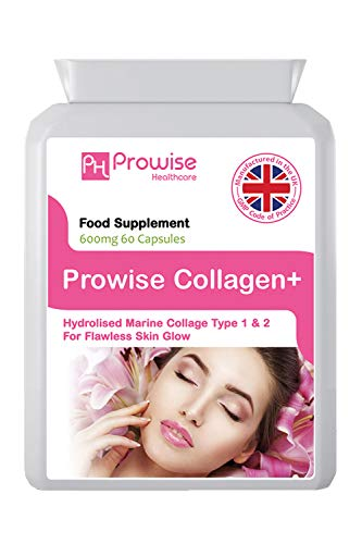 Collagene marino Tipo 1 e Tipo 2 600mg - 60 Capsule - Prodotto nel Regno Unito | Standard GMP di Prowise Healthcare