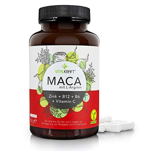 VITALKRAFT [180] Maca Kapseln hochdosiert + 1000mg Macawurzelpulver + L-Arginin + Vitamine + Zink – Ohne Zusatzstoffe/Ohne Gentechnik