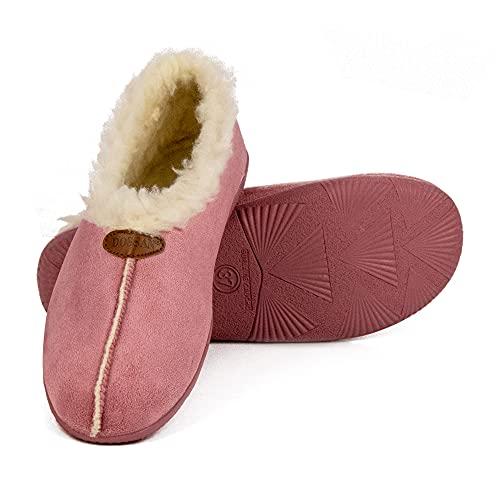CoboFamily Zapatillas de Casa Mujer Otoño Invierno Casual Cómodas, Zapatos Bamara Tacón Cuña y Punta Cerrada Multicolor, Suela Caucho HECHO EN ESPAÑA (Maquillaje, 36)