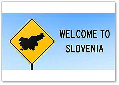 Slovenië Map On Road Sign. Welkom bij Slovenië - Koelkast magneet