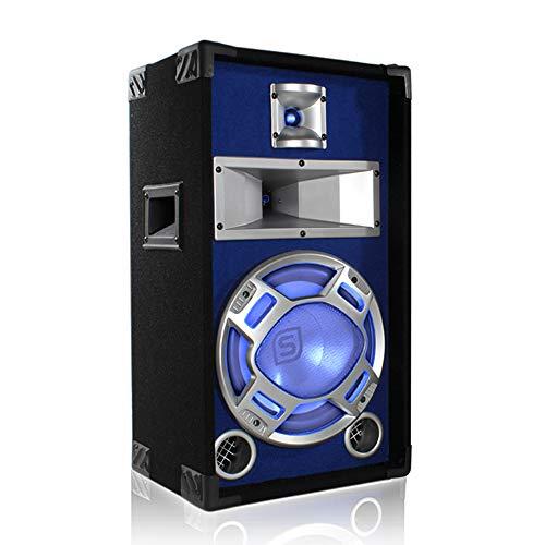 Skytec DJ HiFi PA-Boxen 400 Watt blau beleuchtet mit 3 Lautsprecher und Handgriffe (1 x 25cm Subwoofer, 3-Wege-Bassreflexsystem, SPL max: 93 dB) schwarz-blau