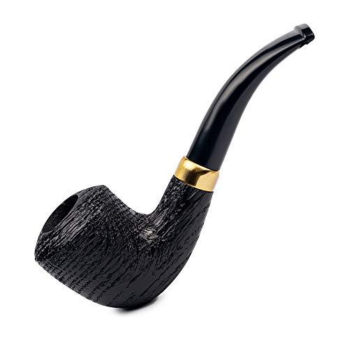 Dr. Watson - Set di pipa per tabacco in legno, piegata a forma di Dublino, per filtro da 9 mm, con accessori, in scatola (ringhiata)