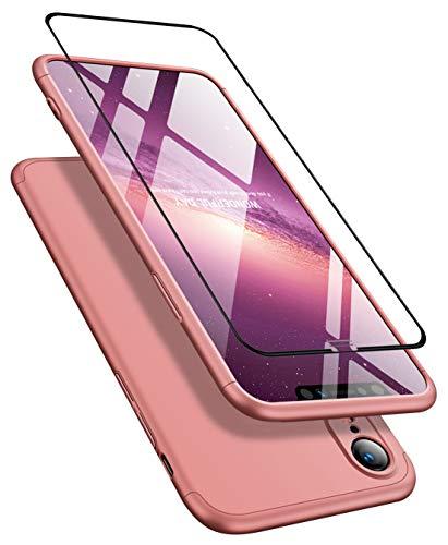 Cover per iPhone XR(6.1')+Pellicola protettiva per film in vetro temperato 360 gradi Ultra sottile Tutto incluso Protezione 3 in 1 cover del telefono PC case JOYTAG-Rose Gold