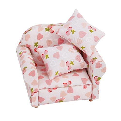 Sharplace Schönen Einzel Sessel Stuhlsessel mit Herzen & Erdbeere Muster für 1:12 Puppenhaus Whonzimmer Möbel