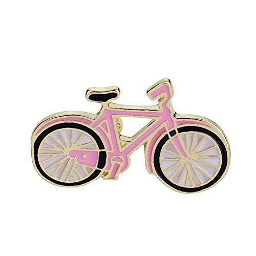 Hoveey Niedliche Brosche Kreative Fahrrad Form Brosche Neuheit Pin Badge Zubehör für Kleidung Hemd Jacken Mäntel Krawatte Hüte Taschen Rosa