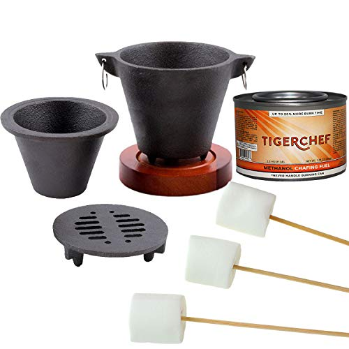 in budget affordable Tiger Chef's Smore Marshmallow Roast Set includes a brazier grill set, a can of fuel grid gel and more.