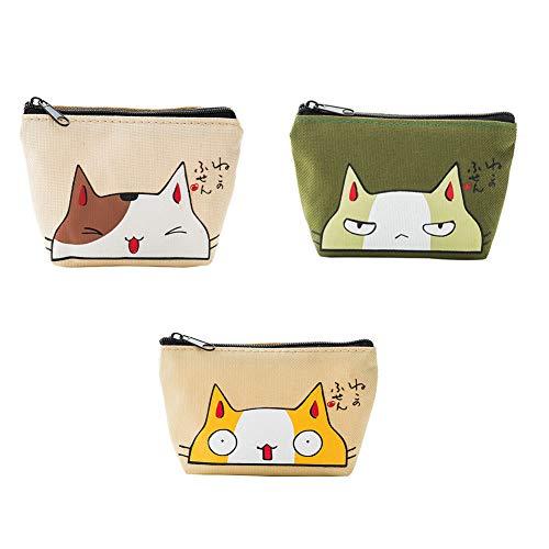 BIGBOBA 3 Stück kleine Frauen Geldbörse Katze Muster Niedlichen Tuch Make-Up Tasche Lippenstift Schlüssel Tasche für Frauen Mädchen