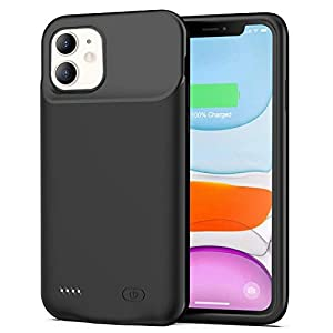 Battery Case For Iphone 11 6500mah Slim Protective Portable Charging Case Rechargeable Extended Battery Pack For Iphone 11 61 Inch Charger Case Black