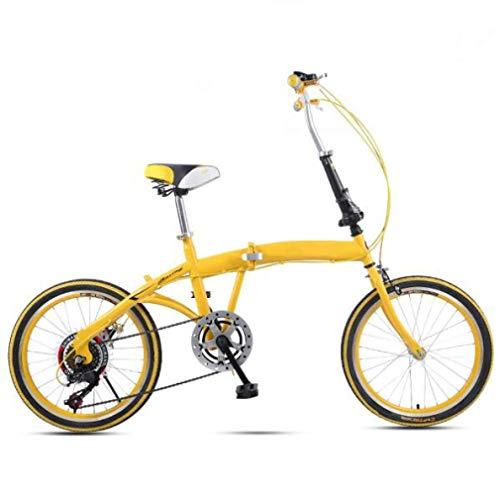 JI TA Bicicletta da Città Donna, Uomo Alluminio Bici Pieghevole Leggera 12 kg Unisex City Bike - Regolabile Manubrio E Sella Comoda,v-Brake,6 velocità/A