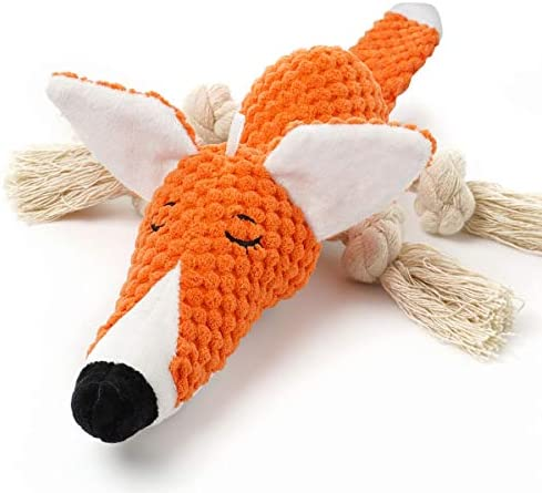 Sedioso Plush Dog Toy Interactive Stuffed Fox Dog Toys for Boredom Cute Squeaky Dog Chew Toys product image
